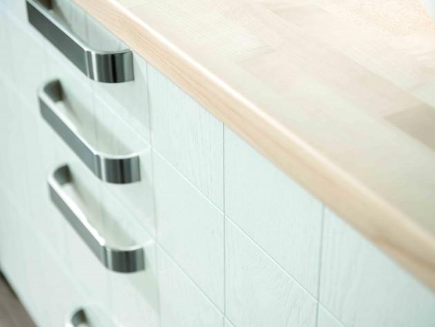 Cuisine artwood schmidt tiroir blanc avec plan de for Plan de travail bois blanc