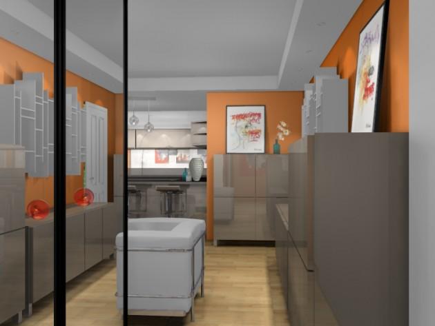 Vue du salon et de la cuisine
