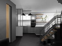 Vue escalier métal et bois