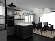 Vue salle à manger et cuisine