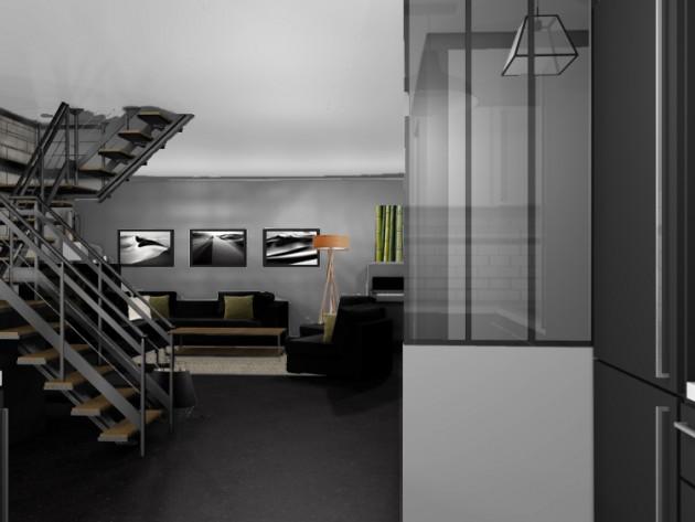 d coration industrielle mh d co vue verri re et escalier id. Black Bedroom Furniture Sets. Home Design Ideas