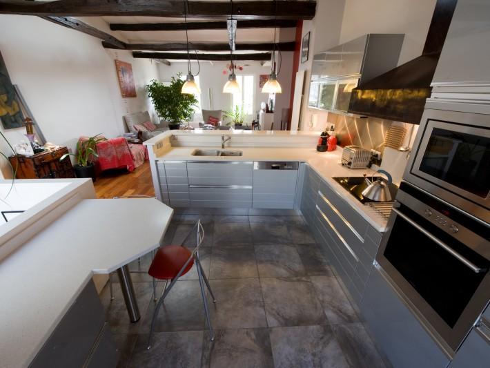 Cuisine Entre Moderne Et Rustique - Agencement D'Une Cuisine En L