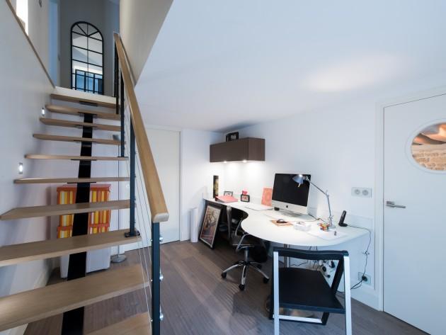 am nagement d 39 un duplex contemporain bureau domicile. Black Bedroom Furniture Sets. Home Design Ideas