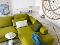 canapé d'angle vert