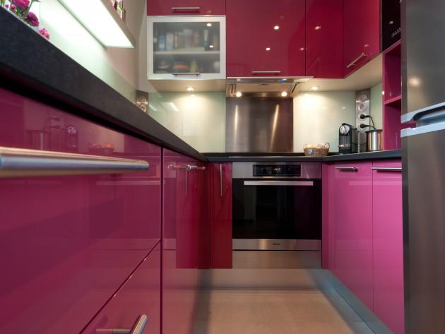 cuisine laqué rose crédence verre