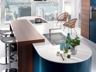 ilot central de cuisine avec table en bois