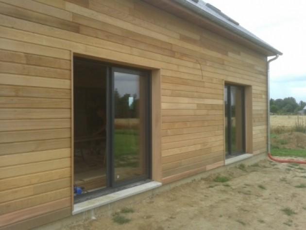 Maison en ossature bois en normandie vue ext rieur des for Maison ossature bois normandie